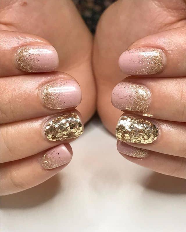 Champagne Rose Gold Glitter Nails