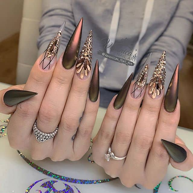 Sharp and Witty Dark Gold Diamond Nails