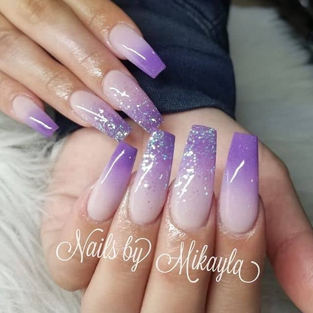 Pink and Lilac Pretty Glitter Ombre Nails