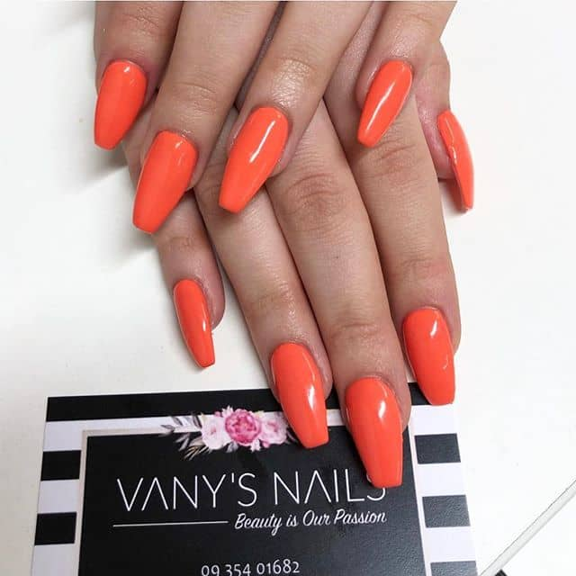 Awesome Deep Orange Ballerina-Shaped Nails
