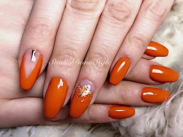 Luxurious Orange and Gold Acrylics