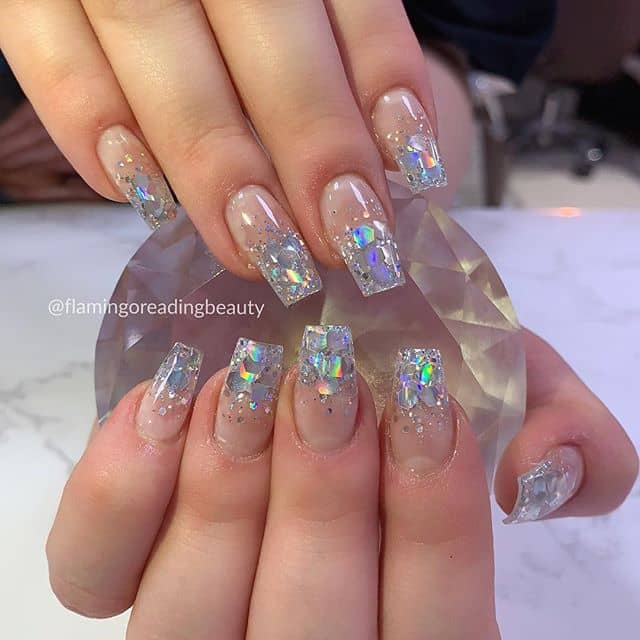 Glamorous Diamond Glitter Ombre Nails