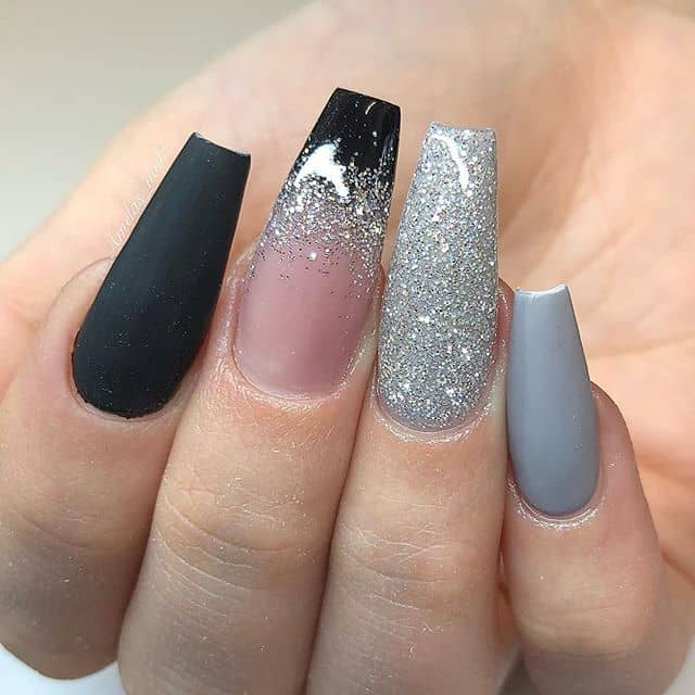 Grey Ombre with Silver Glitter