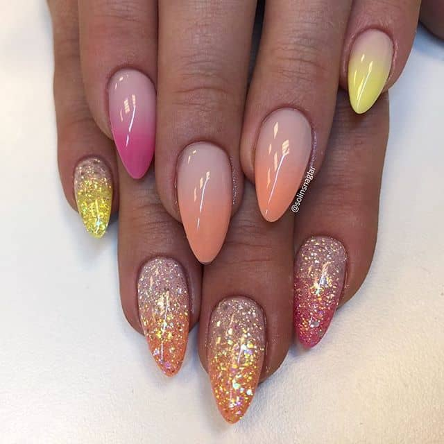 Lovely Gold Foil Peace Nails