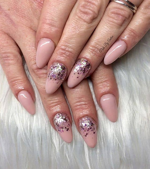 Nude Pink Glitter Ombre Manicure