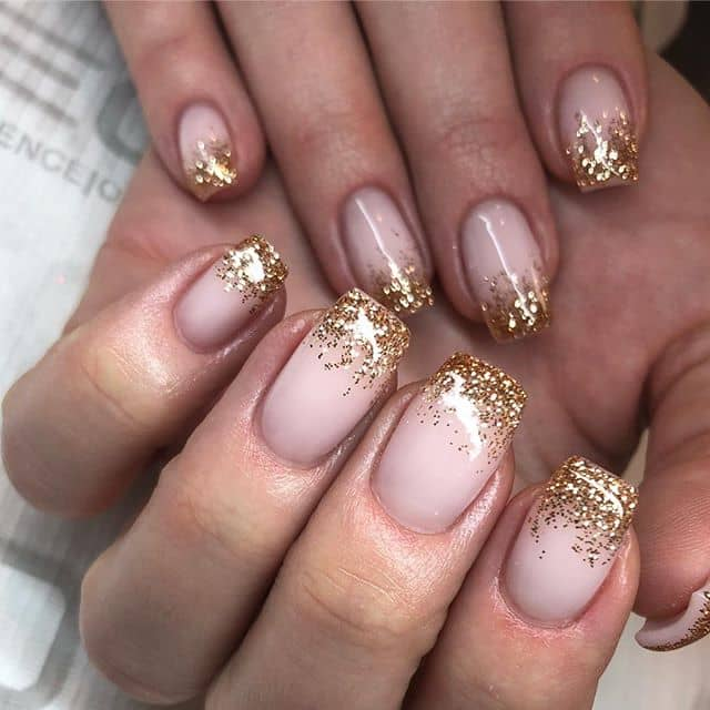 Simple Nails with Gold Ombre Sparkles