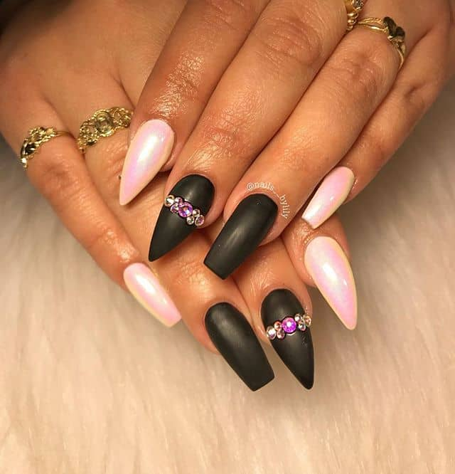 Coffin-Stiletto Nail Combo in Matte Black and French Pink