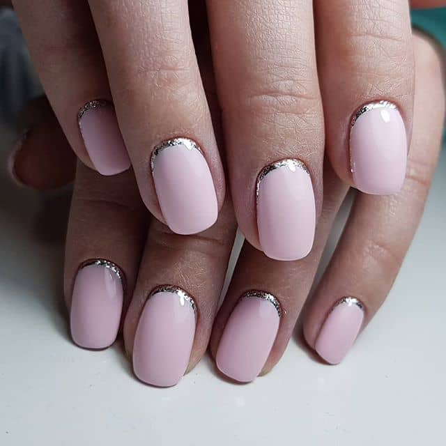 Cute Baby Pink Nails with a Metallic Border