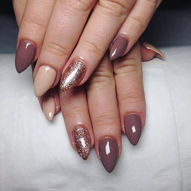 Mauve and Nude Mountain Peak Nails with Acrylic