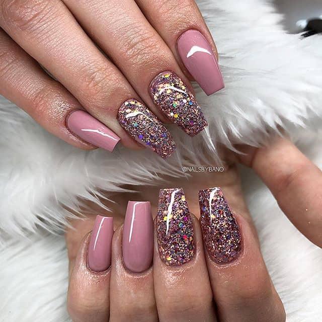 Pretty Shiny Pink Nails Evoke Flowers