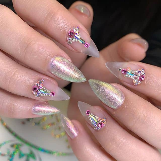 Beautiful Hindi-inspired Rhinestone Nail Art with Frosted Nails