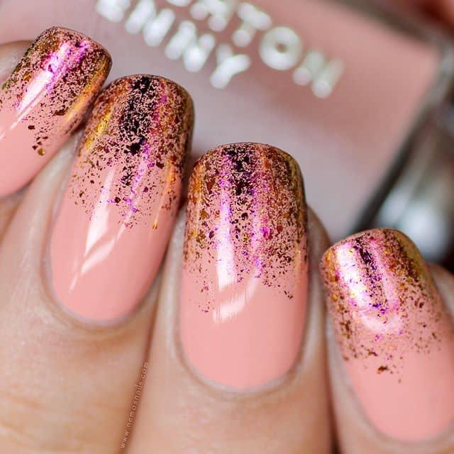 Coral Iridescent Ombre Prom Nail Design