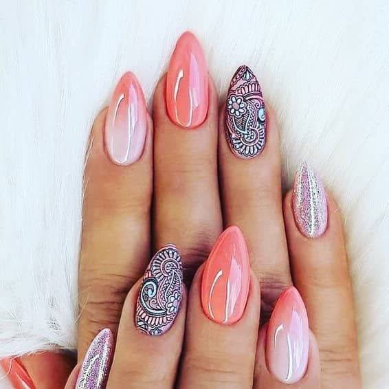 Paisley and Rosy Pink Simple Mountain Peak Nails