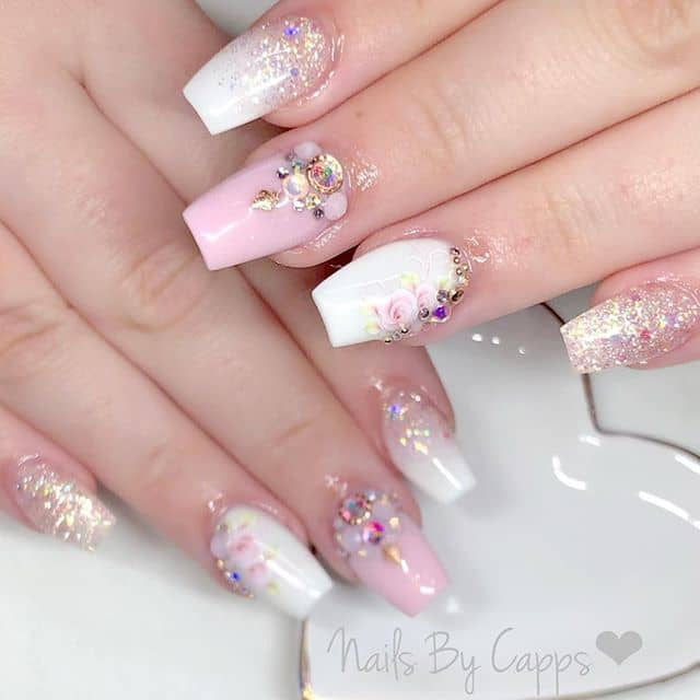 Cute Pink and White Nails by Capps