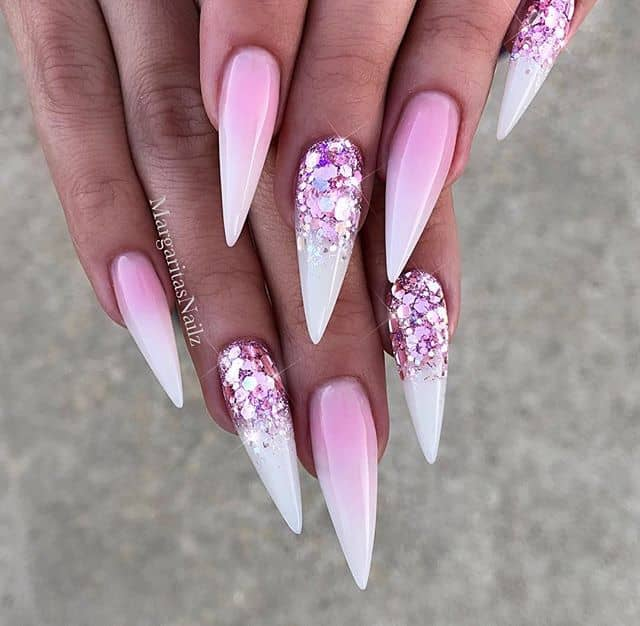 Daring Pink Glitter Stiletto Nails