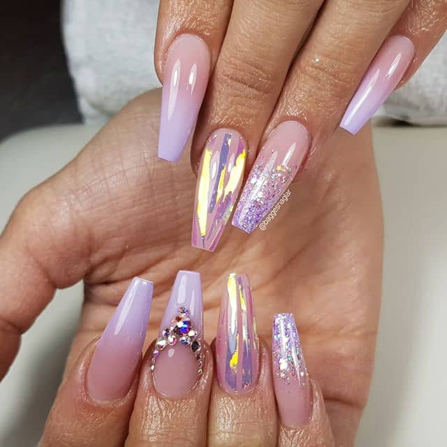 Mixed Metallic and Glitter Ombre Nails