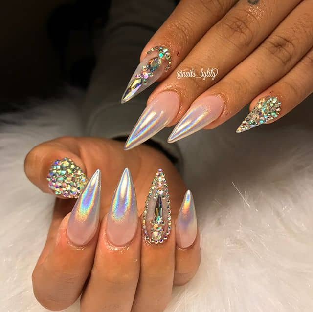 Bejeweled Metallic Ombre Stiletto Nails
