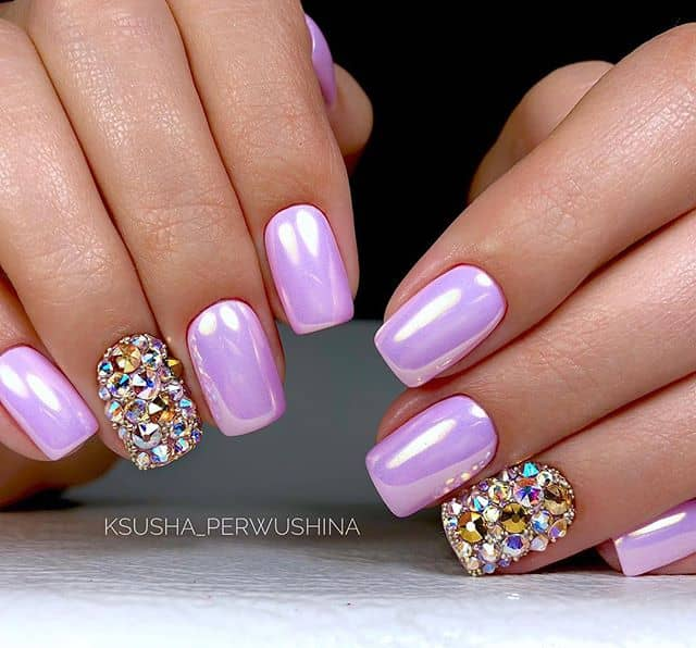 Metallic Pink Nails with Rhinestone Embellished Accents