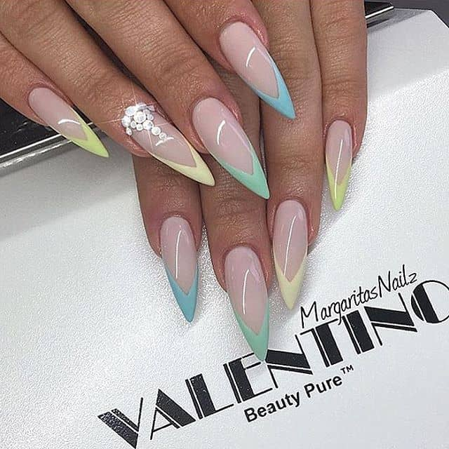 Chevron Stiletto Nails with a Single Rhinestone Detail