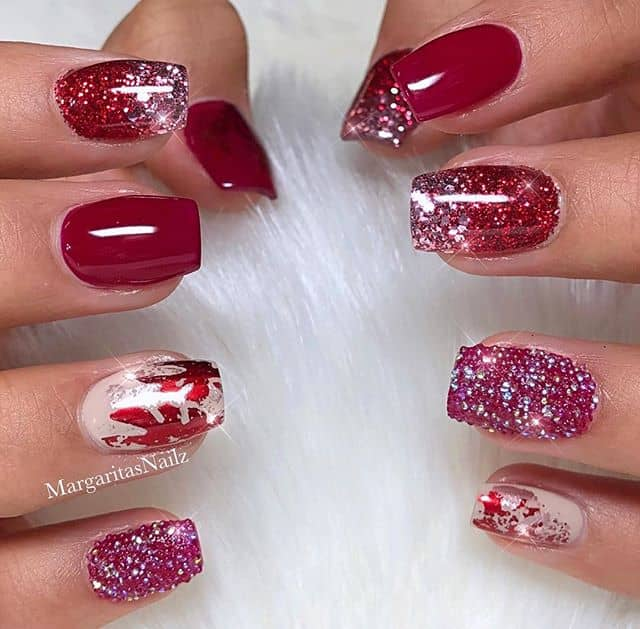 Varied Red Nails Perfect for Valentine's Day