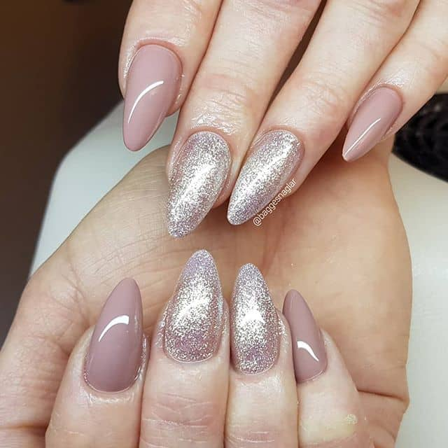 Pretty Mauve Princess Glitter Mountain Peak Nail Design