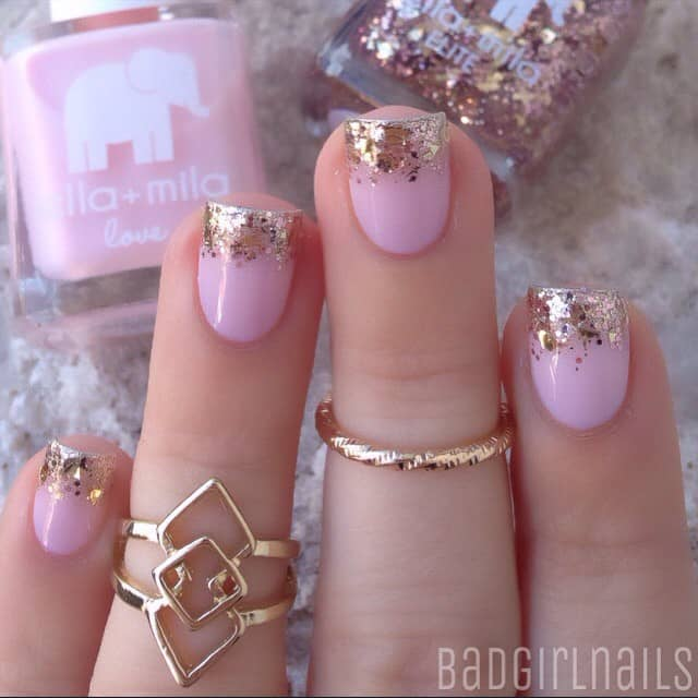 Gold Glitter Tipped Pink Princess Nails
