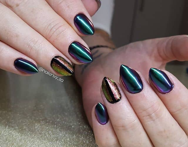 Beautiful Laser Green Nails with Hummingbird Tints