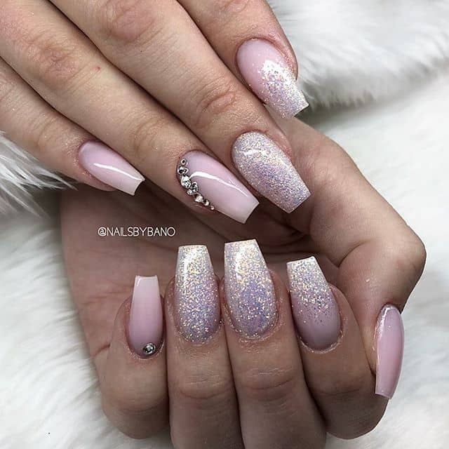 Eloquent Glitter and Pink Nails with Jewels