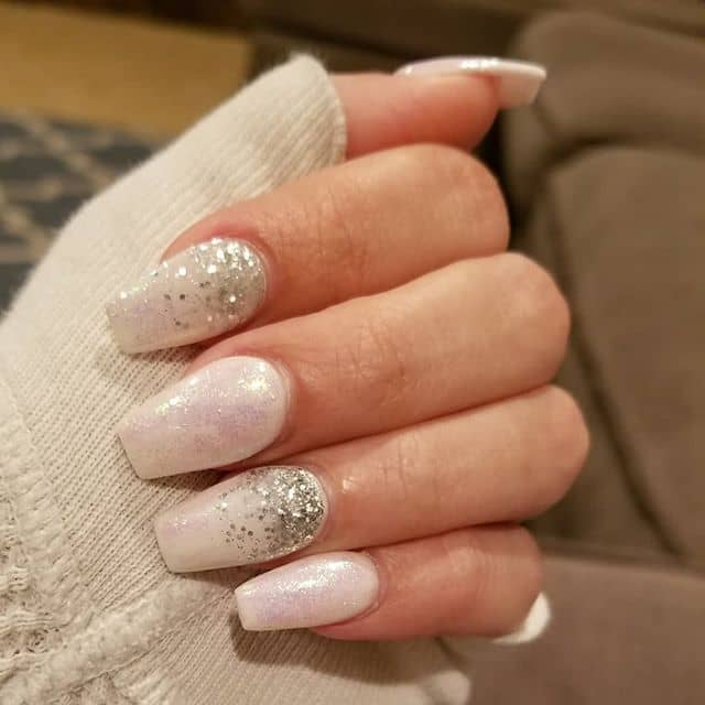 Cute Large and Light Sparkle-Filled Nails