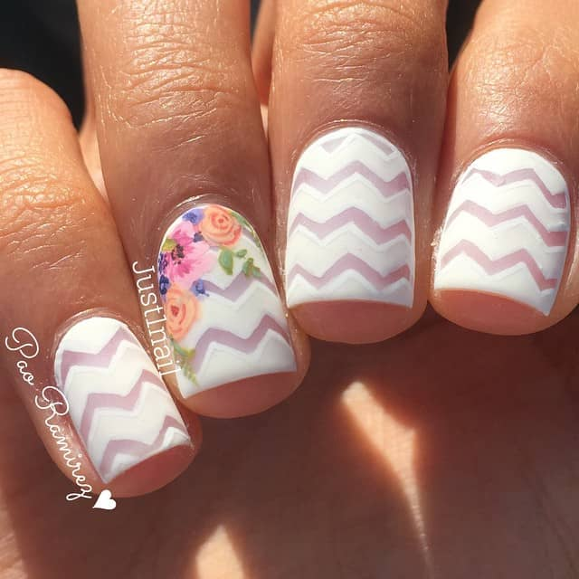 Zig Zag Patterned Floral Princess Nail Design