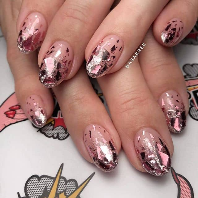 Geometric Maroon and Silver Princess Nails