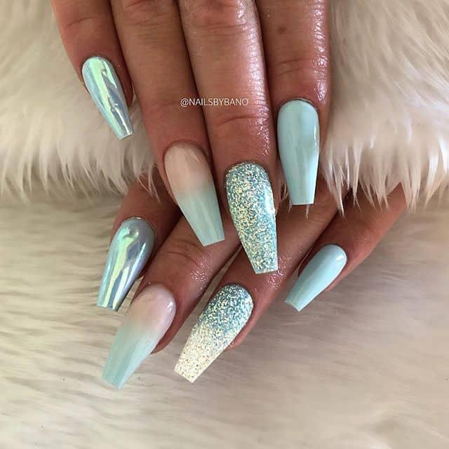 Aquamarine Ombre Glitter Prom Nail Ar