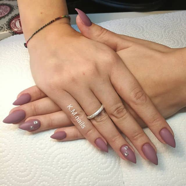 Matte Mauve Best Mountain Peak Nails with Simple Pearl Accents