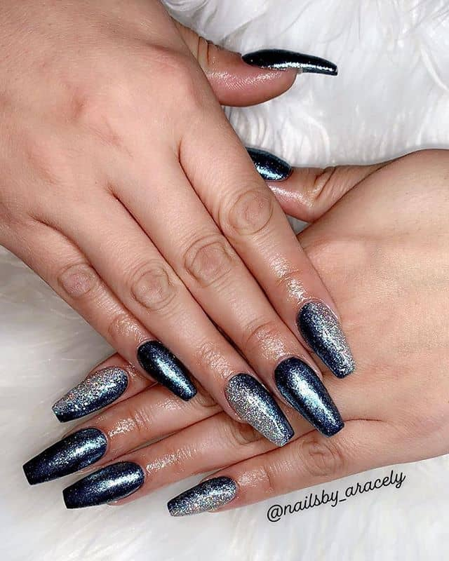Awesome Starlight Silver Nail Design