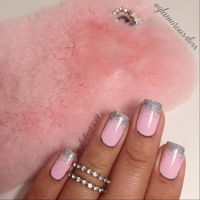 Simple Pretty in Pink Silver Nail Art