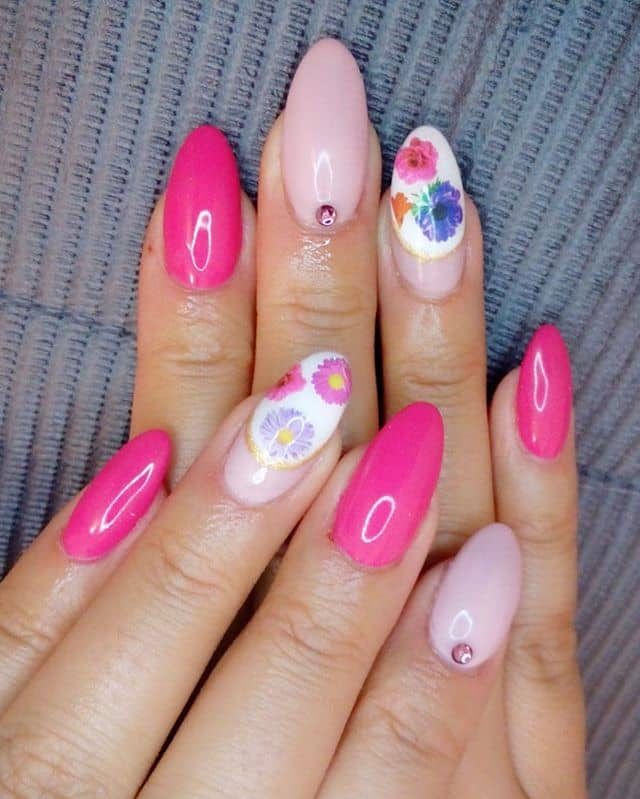 Asymmetric Pink and Purple Flower Nails