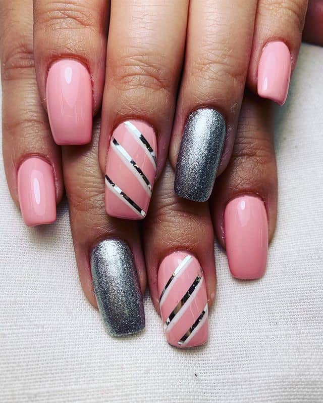 Pink and Silver Striped Nail Designs