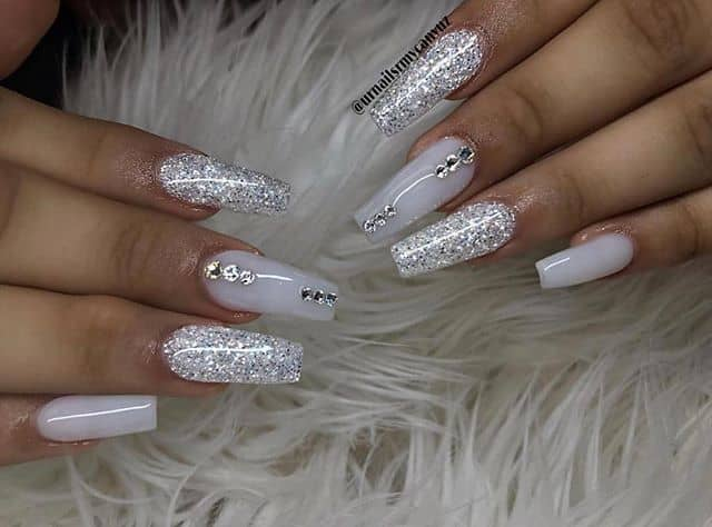 Diamond Gems Silver Nail Designs