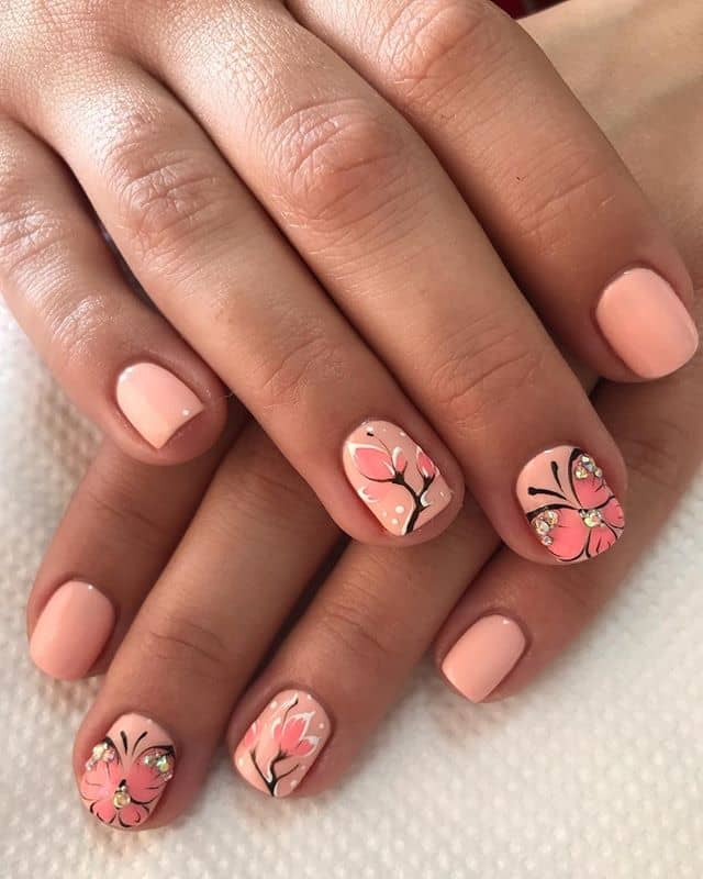 Peachy Pink Butterflies and Flowers