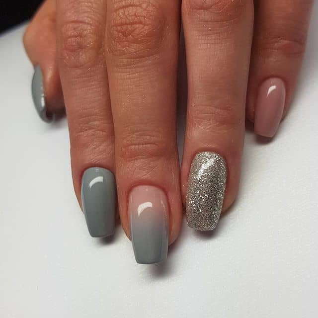 Light Blue Meshed with Pink and Silver Nail Art
