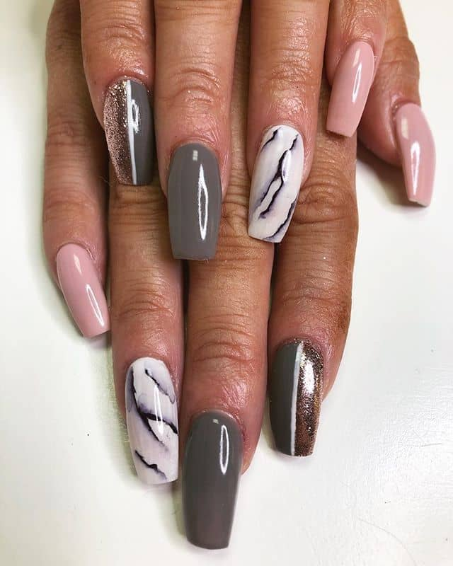 Silver Marble and Pink Silver Nails