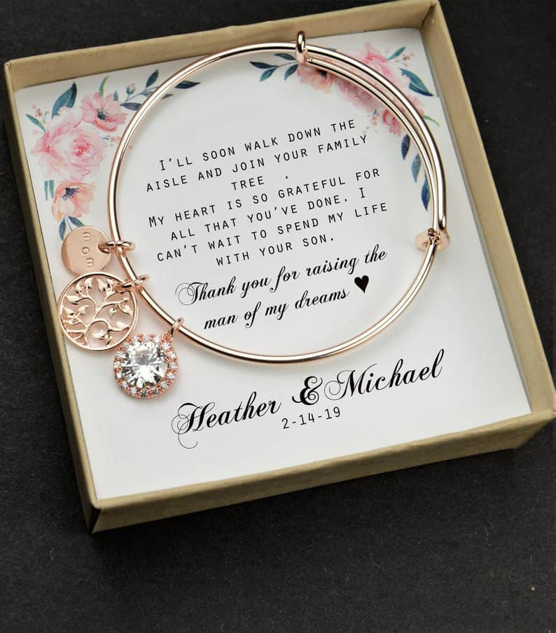 Mother of the Groom Gift from Bride Silver Glass Necklace Mother of Groom Gift from Bride Mother in Law Wedding Gift from Bride