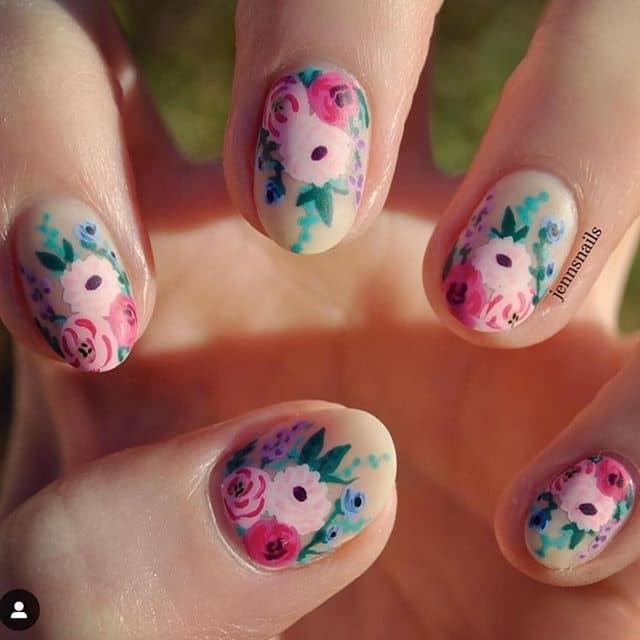 Pretty Pastel Matte Garden Nails