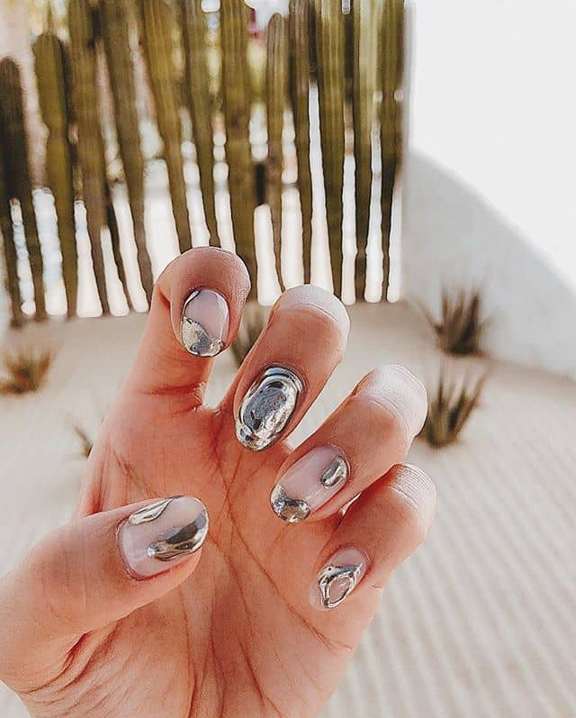 Melted Silver on Clear Round Nails