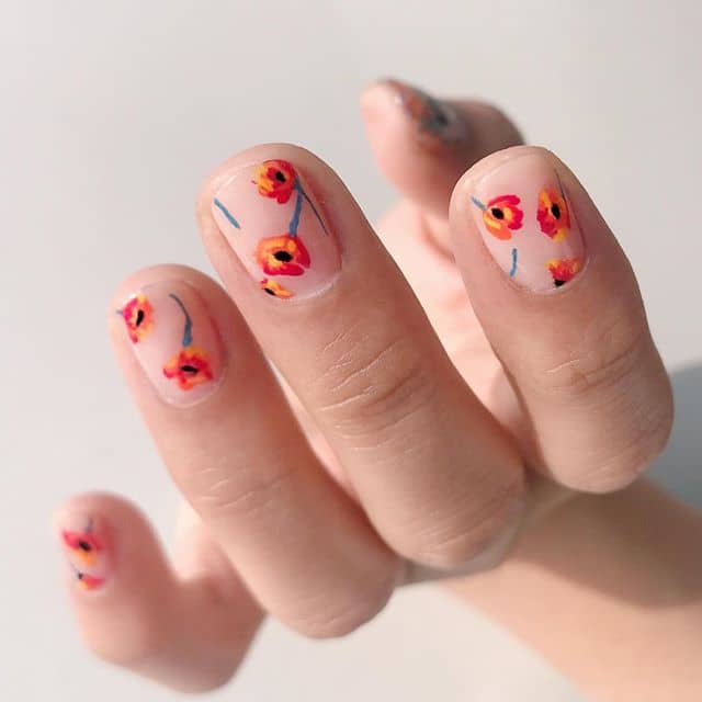 Sunset Colored Flower Nails