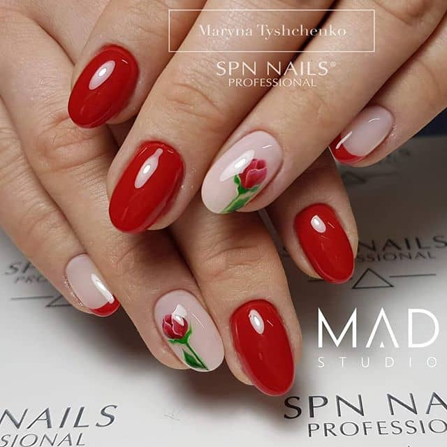 Chic Cherry Red Flower Nails