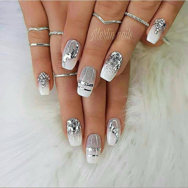 Shimmering White and Silver Nails with Gemstones