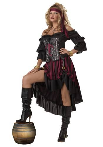 Saloon BROWN Pirate Corset Wench VELVET CORSET Womens Fancy Dress