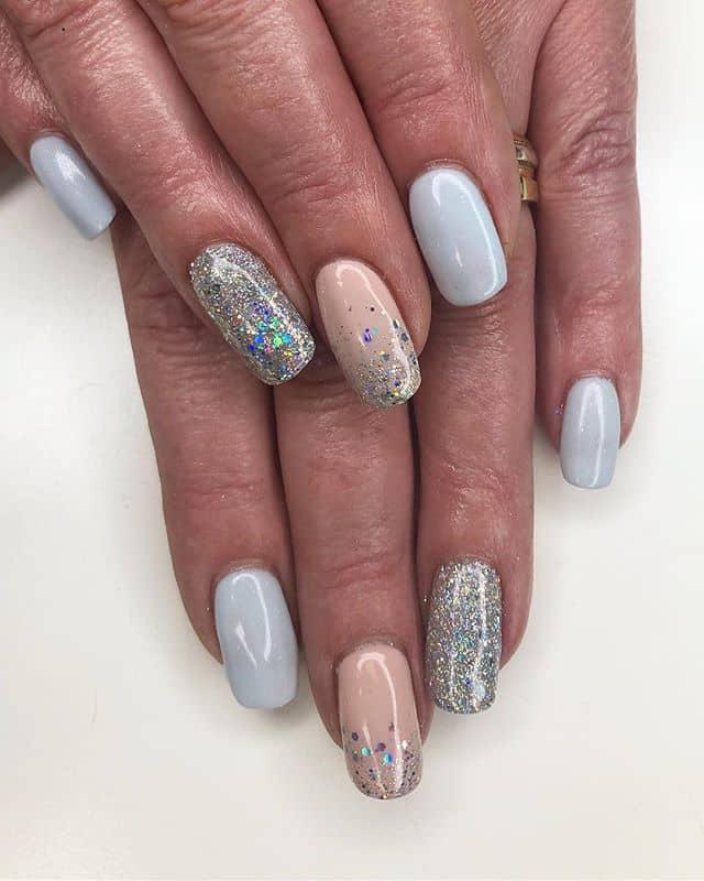 Rainbow Sparkle Silver Nail Ideas