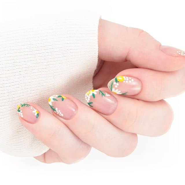 Dainty Yellow, White, & Green Natural Nails